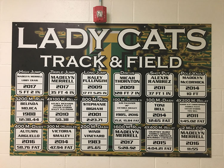 Lady Cats track records