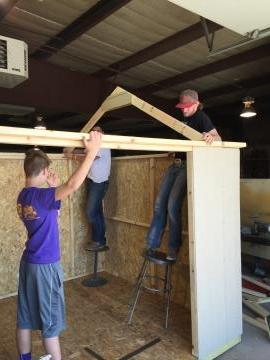 Shop Kids working on the shed.