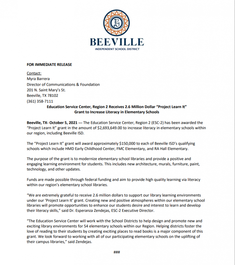 """2.6 MILLION DOLLAR """"PROJECT LEARN IT"""" GRANT TO INCREASE LITERACY IN BEEVILLE ISD ELEMENTARY SCHOOLS"""