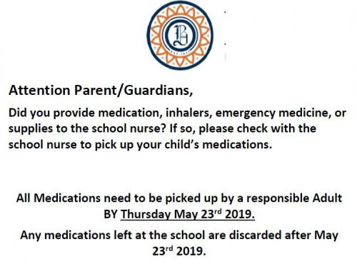 Notice to parents to pick up medications
