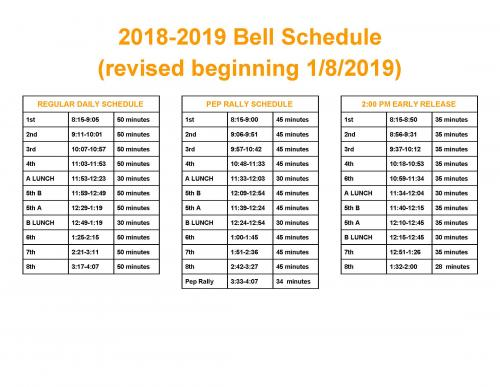 Updated Bell Schedule beginning January 2019