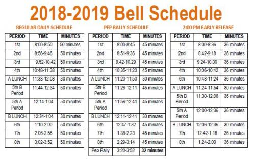2018-2019 Updated Bell Schedule