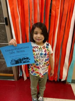 Rm 100th day of school tshirt winner-- Sofie Herrera