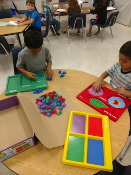 Trayven and Darian sorting-math center