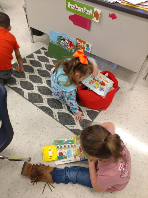 Community Helpers books at Library center