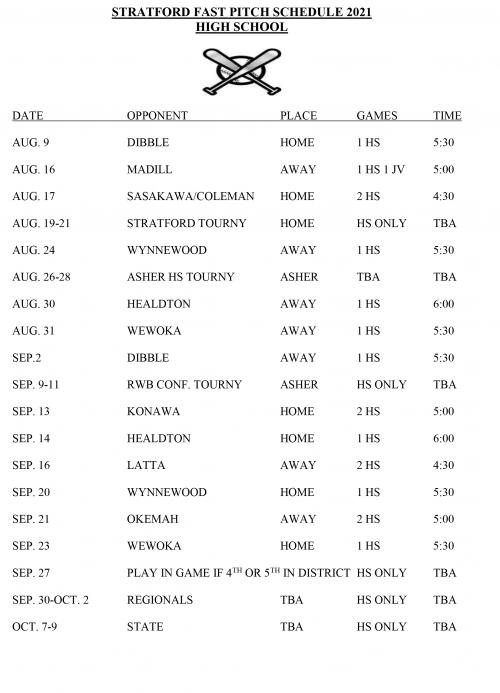 schedule softball