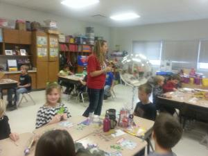Mrs. Parrish playing Christmas bingo