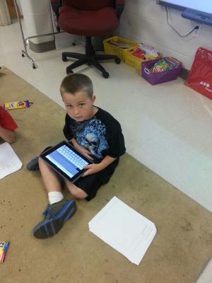 Josh doing research on the iPad.