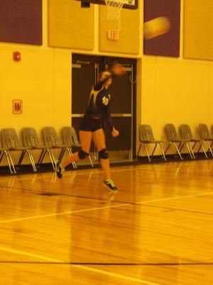Camry Robertson serving one of her seven aces against Clarksville.  She had 18 in all.