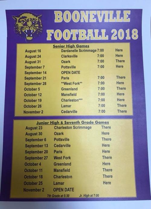 2018-2019 Booneville Bearcat Football Schedule