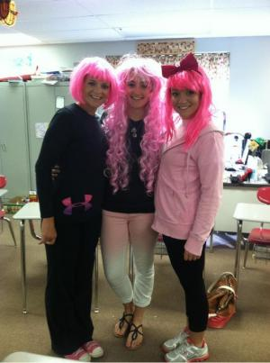 Student Council members show support for Breast Cancer Awareness.