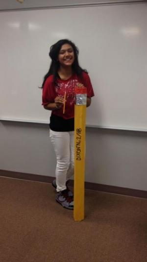 Maria Perez with her super sized pencil (7th grade)