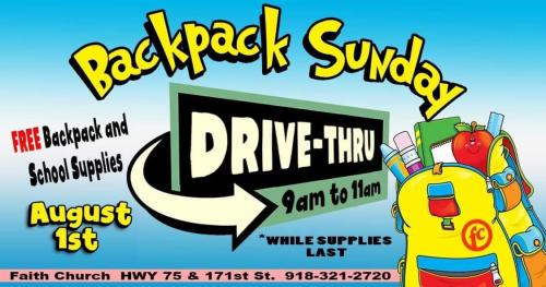Faith Church Back to School FREE Backpacks and School Supplies