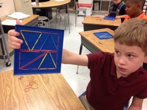Geoboards are a great way for students to express their shape creations.