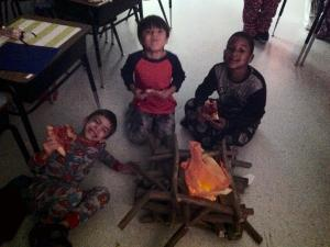 A  train top campfire for our Polar Express Party. Thanks to Zaqurynn's family.