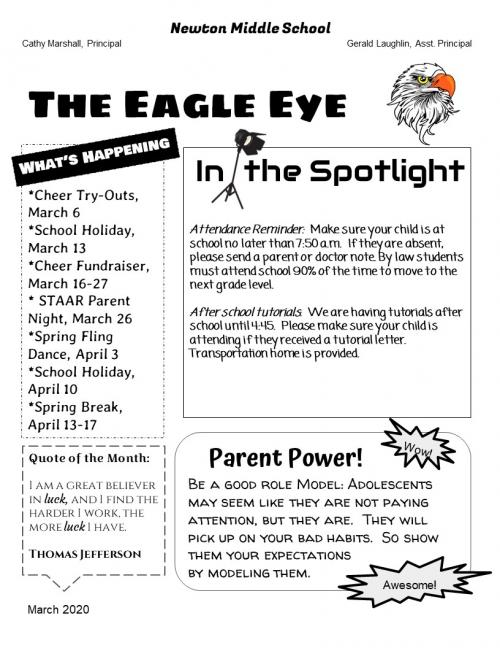 March Newsletter Pg 1