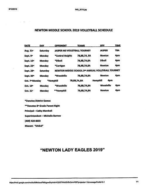 MS Volleyball Schedule