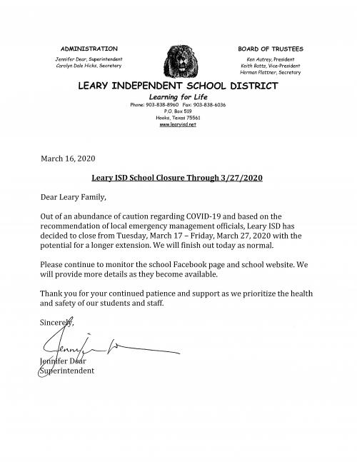 School Closure Until March 27th