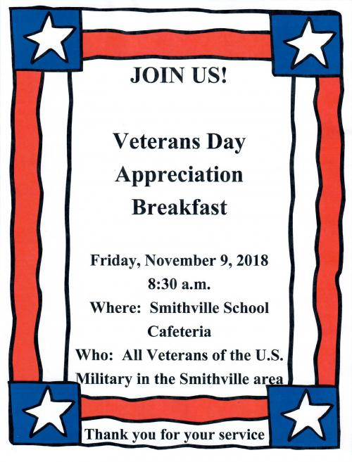 Veterans Day Appreciation Breakfast Flyer