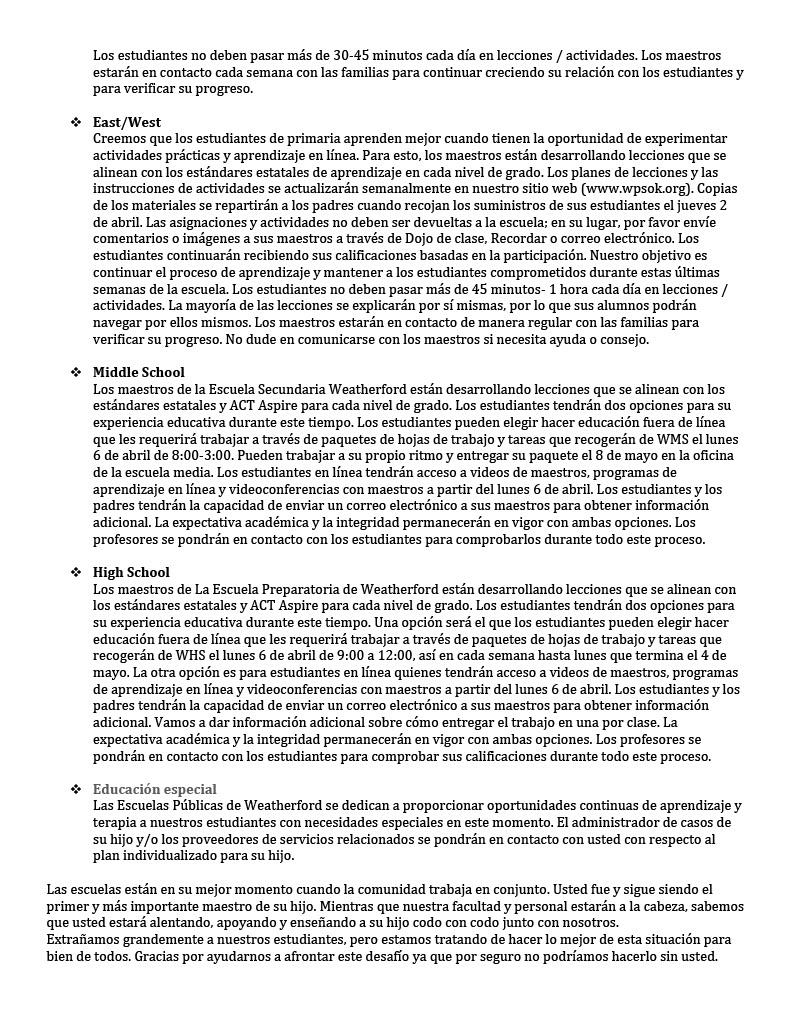 Plan de Aprendizaje del Distrito Pg 2 - Español