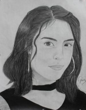 Self portrait in graphite, by Giselle G.P.