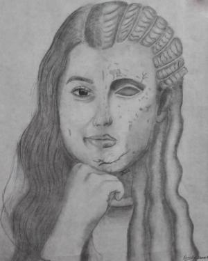 Self Portrait in graphite by Kennedy S.