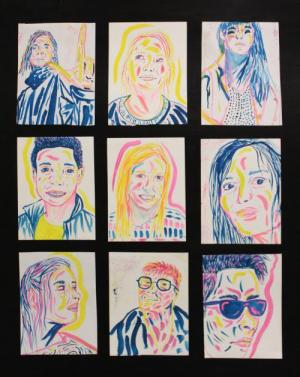 Technicolor Faces in tempera paint, by Hanna D.