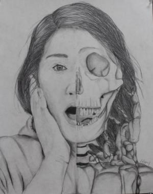 Self portrait in graphite by Ali A.