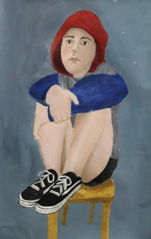 Self portrait in acrylic by Karly B..