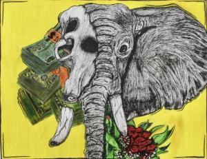 Elephant in mixed media by Cadence J.