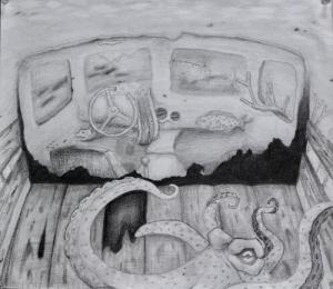 Underwater landscape in graphite by Mackenzie C.