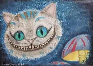 Cheshire cat in mixed media by Michelle G.P.