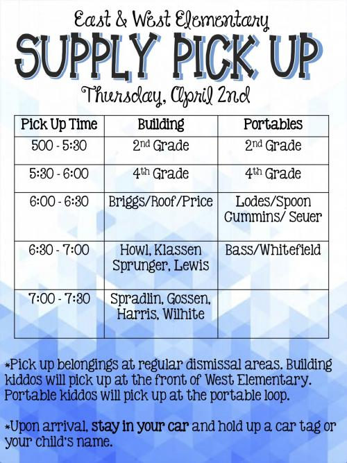 Student Supply Pick-Up Schedule