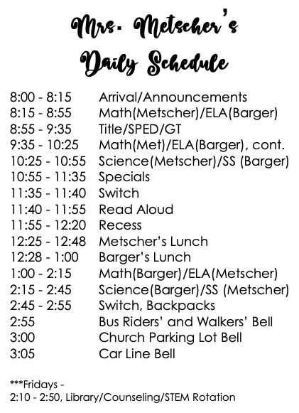 2019-2020 Daily Schedule