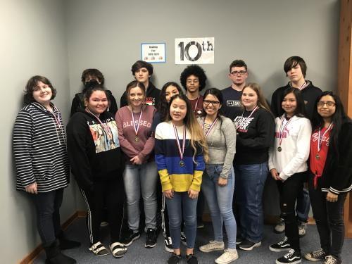 Pictured – NOT IN ANY ORDER:  FICTION: 1ST LEXI WILLIAMS & VANESSA VUE, MENA; 2ND SHAYNA BOWEN, CRHS; 3RD LANDON CASEY & JADEN CORTNEY, CRHS  NONFICTION: 1ST SAHARI MARTINEZ & ARELY ALARCON, CRHS; 2ND OLIVIA BETZ 7 CHRISTINA ORTIZ, MENA; 3RD MAIRA ARIAS