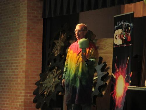 Josh Denhart presents chemistry experiments for