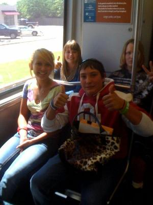 We had fun on the train! Nice purse :)