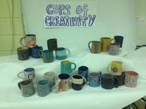Art I handbuilt mugs, slab construction