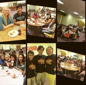 First Spanish Club social! Eating Pizza, brownies, cookies, etc and watching the Book of Life!