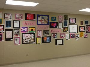 Hope, Strength, Courage Display for Breast Cancer Awareness