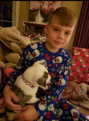 My oldest with his dog