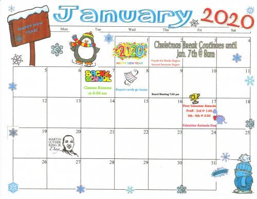 January 2020 Elementary Calendar