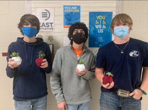 EAST students with their 3D printed board appreciation gifts.