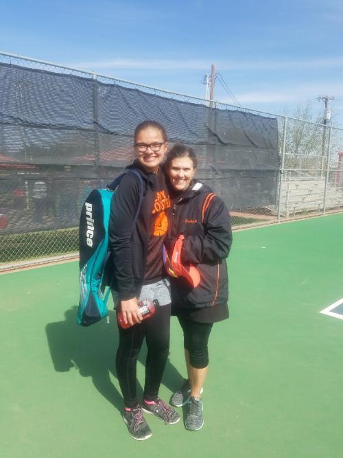 Averi Durham and Mrs. Cockrell at Regional Tennis