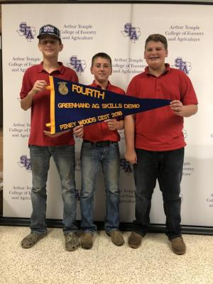 2018 Pineywoods District LDE Contest at SFA- Junior Skills Demonstration team winning 4th