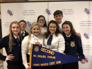 2018 Pineywoods District LDE Contest at SFA- Ag Issues Forum team winning second and advancing to Area 9 LDE Contest