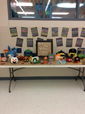 Favorite book characters made out of pumpkins. Made by students in Mrs. Murry's and Mrs. Robertson's classes.