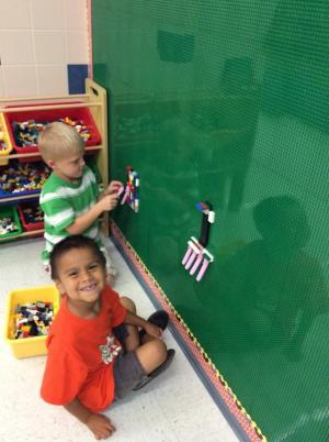 Students enjoy our new Lego wall!