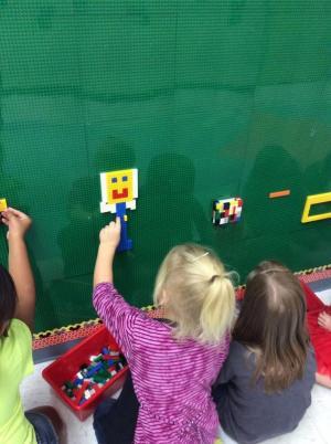 George Washington on the Lego wall.