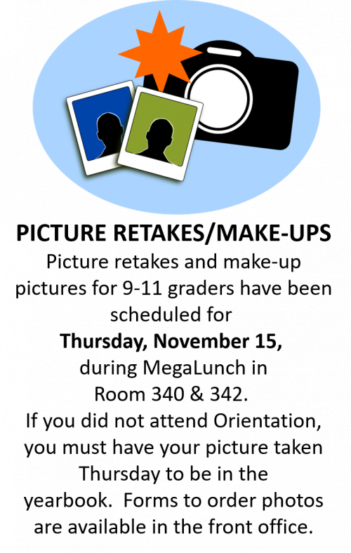 Yearbook Picture Make-Ups - Retakes - Nov 15